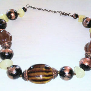 Jewelry - Vintage Choker Necklace with Ceramic Beads, Stones